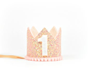 First Birthday Crown | First Birthday Crown Girl | Pink Blush Birthday Crown | Birthday Girl Outfit | 1st Birthday Crown | Girl Party Hat