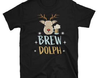 Christmas Brew Dolph the Red-Nosed Reindeer Short-Sleeve Unisex T-Shirt