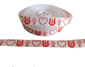 "Floral I LOVE U Hearts ~ Valentine's Day ~ Grosgrain Ribbon  ~7/8"" ~ 7/8 inch"