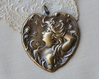 Art-Nouveau Style Celestial Woman Heart Lady Portrait Pendant Antiqued Gold Tone Brass Made in USA
