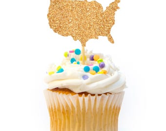 12 CT United States Cupcake Topper Glitter 4th of July Cupcake Topper Independence Day Cupcake Topper 4th of July Decorations