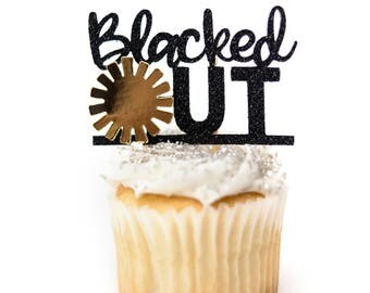 12 Count Blacked Out Sun Cupcake Topper Solar Eclipse Cupcake Topper Solar Eclipse Party Solar Eclipse Decorations Solar Eclipse Blacked Out