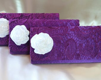 Set of 3 with Purple Bridesmaid Clutch Satin Flower,Bridesmaids Set,Floral Clutch, Bridesmaid Gift Ideas