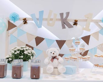 Banner for blue,  beige and brown, Party Decor,shower banner, blue, beige and brown,Triangle Flag Banner,Pennant Banner,Banner Wedding
