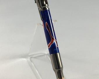 Bolt Action Bullet Pen in Gun Metal Finish and Patriotic Acrylic