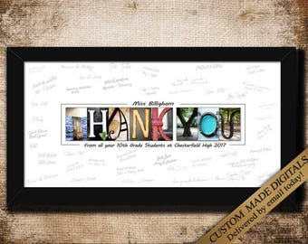 Thank You Teacher Gifts DIGITAL Teacher Appreciation Gift From Pupil Student Class Gift For Teacher Personalized Signature PRINTABLE 2017