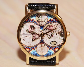 Globe watch etsy wristwatch antique world map mens watch women watches travelers watch travelers gift gumiabroncs Images