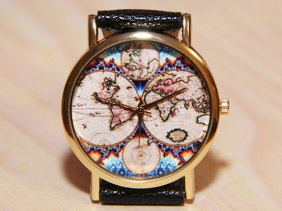 Wristwatch antique world map mens watch women watches like this item gumiabroncs Image collections