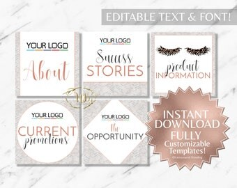 Rose Gold and Marble RF Facebook Album Covers INSTANT Templates