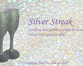 Silver Glitter Champagne Glass