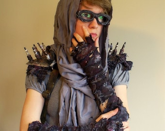 Mad Max Inspired Post-Apocalyptic Pair of Ragged Fingerless Wrap Elbow Convertible Gloves