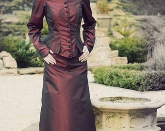 Edwardian Style Bustle Skirt & Jacket - Wine Taffetta - Size S
