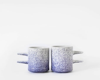 Pair of stoneware pointed mugs with speckled blue, wheel-thrown ceramic handmade