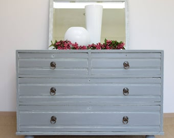 Vintage Chest of Drawers, Shabby Chic Chest of Drawers, Large Victorian Dresser, Antique Rustic Painted Pine Grey Chest of Drawers