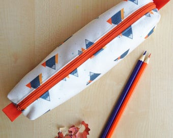 Mountain Print Pencil Case - Orange zip and lining