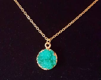 Medium Gold Coated Teal Druzy charm necklace