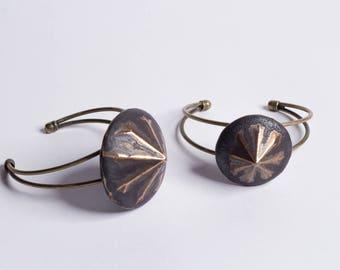 diamond shape bracelet | copper bracelet | ceramic bracelet | geometric bracelet | | vintage bracelet | boho bracelet | | big bracelet