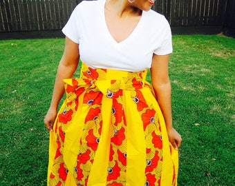 Long Pleated Ankara Skirt