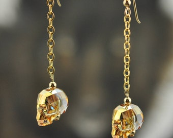 Swarovski Crystal Sunshine Skulls 14K GF dangle Earrings