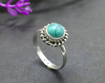 Natural Turquoise Round Gemstone Ring 925 Sterling Silver R412