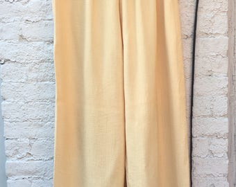 Yellow Cotton Leisure Tie Pants | Size M-L | Women's Vintage Clothing