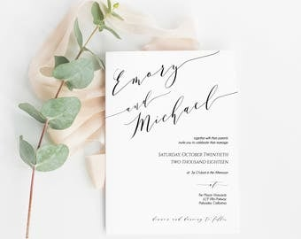 Printable Invitation, Invitation Template, Wedding Invitations, Modern Calligraphy, Wedding Invite, Rustic Wedding, PDF Download Invitation