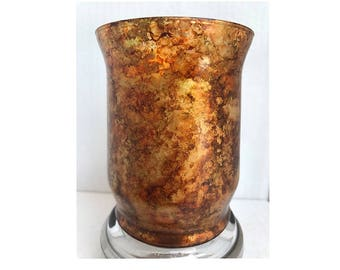 Golden, Marbled Effect, Unique Alcohol Ink Candle Holder, perfect for any home decor