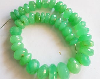 Chrysoprase Faceted beads , 7-12 mm , 9 inch strand approx, Rondelles beads