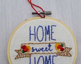 Home Sweet Home Hand Embroidery, Cornflower blue, Gold, florals