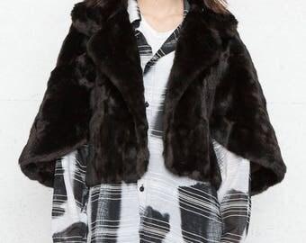 Vintage Brown Faux Fur Cape