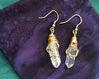 Clear Quartz, Wire Wrapped, Earrings