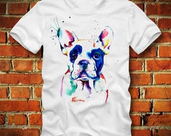 BOARDRIPPAZ BULLDOG T SHIRT Psychedelic Abstract Bleeding Water Colors Trippy Colorful Hipster Swag Dope City Bulldog Shirt Animal English