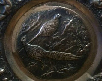 Vintage Copper Wall Plate with Pheasants