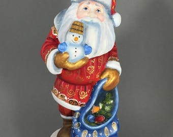 """Wooden Russian Santa with Snowman (Father Frost, Ded Moroz) Red/Blue  9"""" Hand carved / painted Christmas decoration Collectible"""