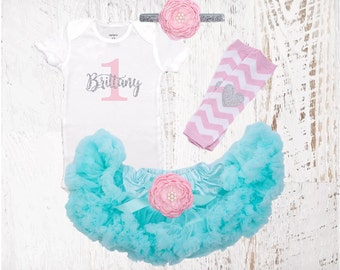 1st Birthday Outfit Light Pink Aqua & Silver Girl One Tutu Pettiskirt Outfit Cake Smash Shirt Onesie Bodysuit Headband Necklace Leg Warmers