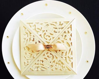 Stunning laser cut personalised wedding invitation 5448