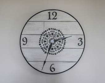 28'' black and white wooden wall clock