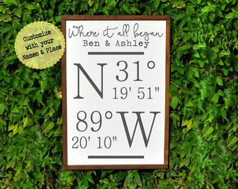 First Anniversary Gift for Her, Coordinate Sign, 1st Anniversary Gift for Wife,  Personalized First Anniversary Gift for Her, Wife Gift