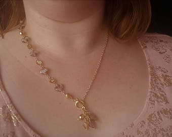 Gold Asymmetrical Statement Necklace, Crystal Necklace, Crystal Earrings, Statement Jewelry Set,