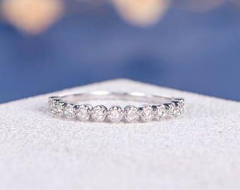 Diamond Eternity Band Bezel Set Diamond Stacking Ring White Gold Wedding Ring Band Simple Thin Dainty Minimalist Anniversary Promise