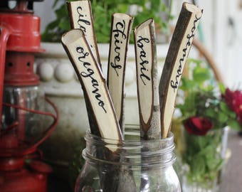 Herb markers, hand-lettered maple, set of 6