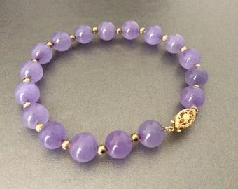 14K Gold & Amethyst Bracelet / Stone / Polished / Gold Beads
