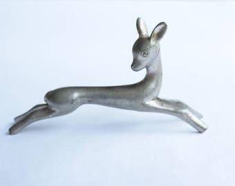 Vintage Swiss Made Baby Deer / Fawn Pewter Figurine