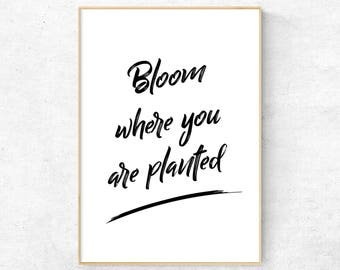 Inspirational Quote, Modern wall art, Motivational Print, Minimalist Typography, Scandinavian Decor, Nordic Digital Poster, Bloom Quote