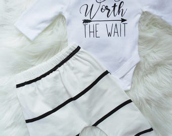 Worth the Wait Bodysuit | Baby Boy outfit | Baby Shower Gift | Baby Boy Bodysuit & pants coming home outfit