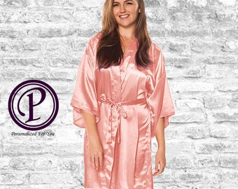 Peach Satin Kimono Bridesmaid Robe, Monogrammed Robes, Embroidered Robes, Wedding Day Robes, Bridesmaid Gift, Bridal Robes, Satin Robes