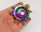 Ship wheel fidget spinner, metal fidget spinner, rainbow fidget spinner, nautical fidget spinners, steering wheel finger spin toy, edc toys