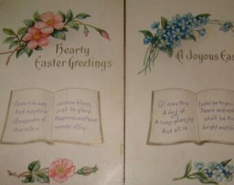 2 Pretty Vintage Easter/Floral Postcards