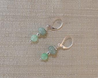 Green aventurine and silver Pearl Earrings