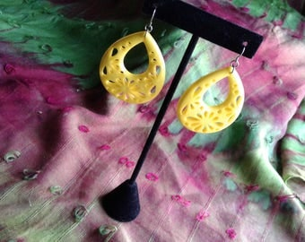 Large Yellow Tear Shaped Acrylic Dangle Earings